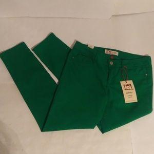 lei ashley low rise skinny green jeans sz 13 NWT